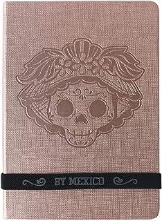 By Mexico, Cuaderno Clasico, Hojas Rayadas rosa Grabada Catrina Felisa 80 hojas