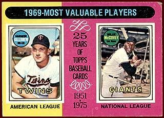 Willie McCovey HOF 1975 Topps #207 (vg/ex) SAN FRANCISCO GIANTS Harmon Killebrew MINNESOTA TWINS 1969 MVP's Vintage