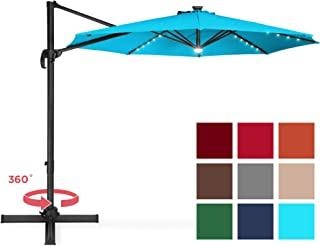 Best Choice Products 10-Foot Solar LED 360 Degree Aluminum Polyester Cantilever Offset Market Patio Umbrella Shade w/Easy Tilt and Smooth Gliding Handle, Light Blue