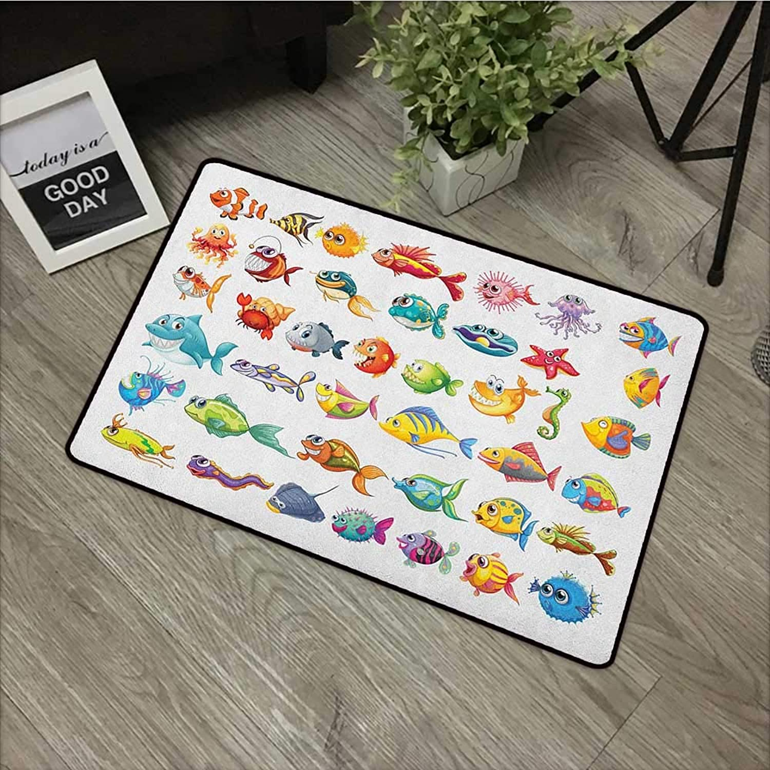 Bathroom anti-slip door mat W24 x L35 INCH Fish,Collection of Sea Creatures Cartoon Style Vivid colors Happy Fish Lined Up Abstract, Multicolor Non-slip, with non-slip backing,Non-slip Door Mat Carpet