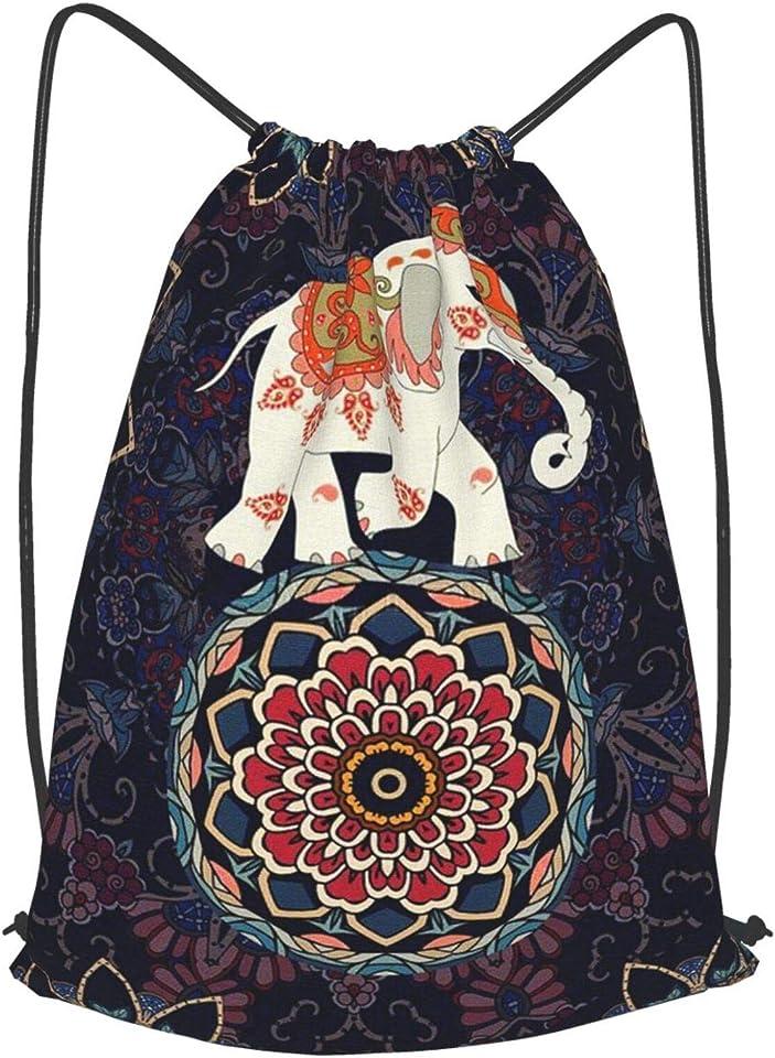 Mandala Ethnic Elephant Drawstring Backpack String Bag Folding Water Resistant for School Gym Yoga Shopping Sports Cinch Sackpack Men Women