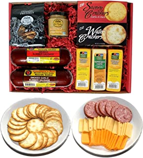WISCONSIN'S BEST & WISCONSIN CHEESE COMPANY - Deluxe Gift Basket- Sausage, 100% Wisconsin Cheese, Crackers, Pretzels & Mus...