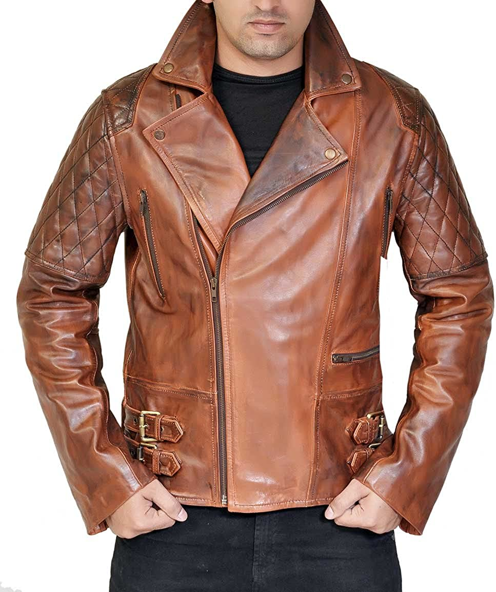 Mens Brown Distressed Leather Motorcycle Jacket - Diamond Quilted Real Lambskin Biker Jacket