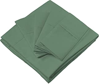 Cosy House Collection Elegant Bed Sheets - Queen Size, Forest Green (Dots) - Luxury 6 Piece Hotel Bedding Set - Beautiful Matte & Shine Patterns - Deep Pocket - 1 Fitted, 1 Flat, 4 Pillowcases