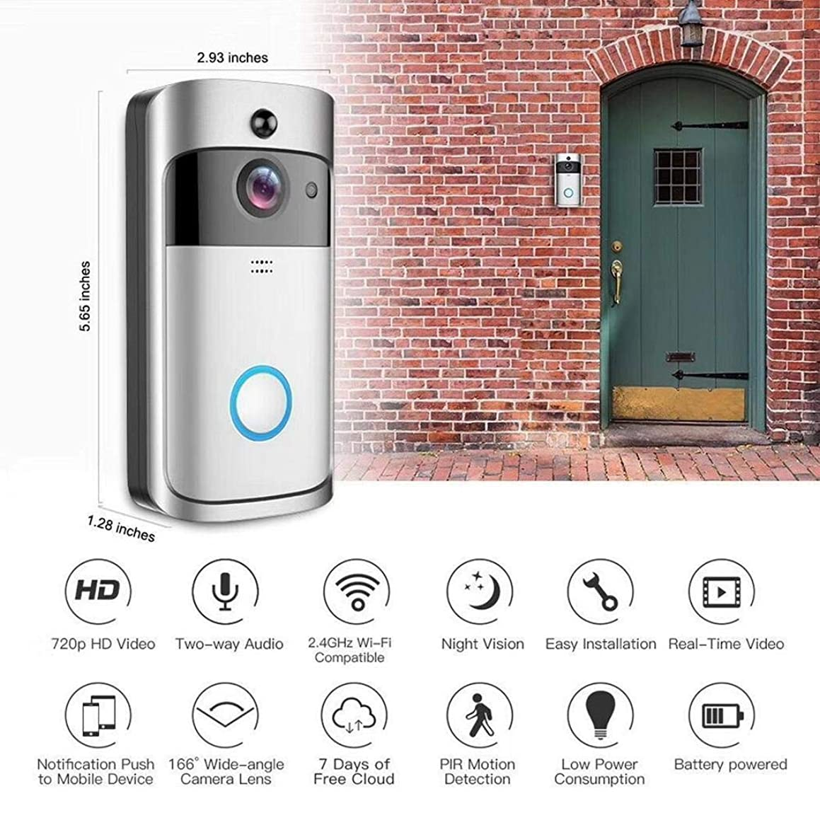 xinnio Home Wireless Remote Monitoring Real-Time Two-Way Talk Video Doorbell Remote Home Monitoring Systems