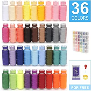 KEIMIX 72Pcs Prewound Bobbins with Case & Sewing Threads Kits, 36 Colors Polyester 300 Yards Per Spools for Hand & Machine Sewing