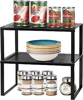LIANTRAL Insert d'étagère pour armoire de cuisine   Étagère de rangement empilable en métal extensible pour accessoires de...