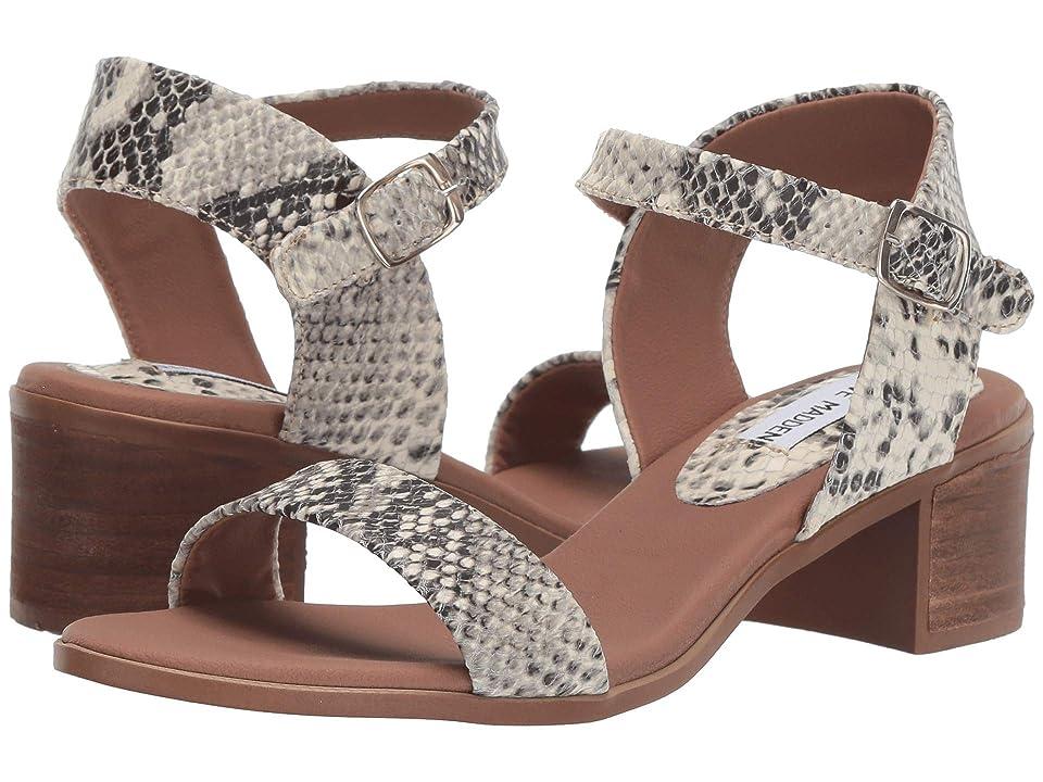 Steve Madden April Block Heel Sandal (Natural Snake) Women