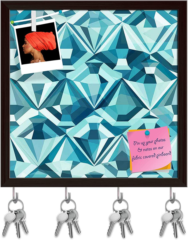 Artzfolio Diamonds Key Holder Hooks   Notice Pin Board   Dark Brown Frame 20 X 20Inch