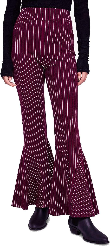 Free People Womens Mari Striped Bell Bottom Wide Leg Pants