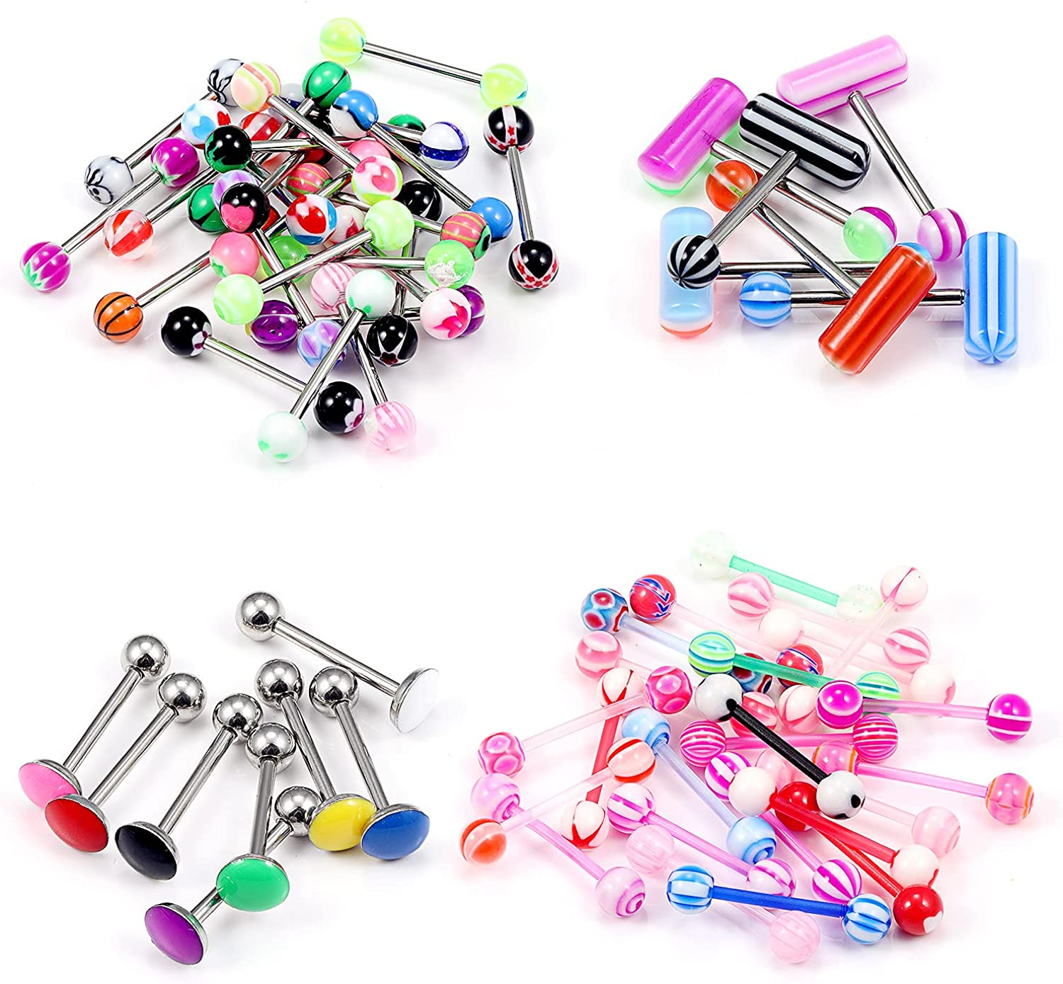 Leiainely Tongue Rings for Women Tongue Ring Tongue Piercing Jewelry Tongue Rings Surgical Steel Plastic Tongue Rings Clear Tongue Ring Tongue Rings for Men Tongue Jewelry Snake Bite Tongue Rings