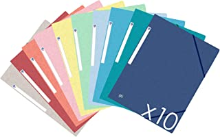 Oxford TopFile+ Lot de 10 Chemises Cartonnées 3 Rabats Format A4 Fermeture Elastiques 10 Couleurs Assorties