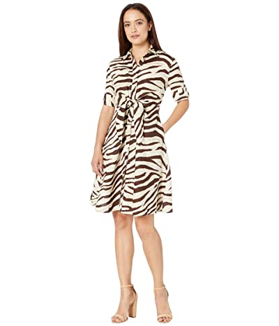 LAUREN Ralph Lauren Petite Print Linen Shirtdress (Dark Brown Multi) Women