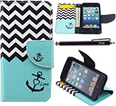 iPod Touch 5 Case, i Touch 6 Case Wallet, iYCK Premium PU Leather Flip Folio Carrying Magnetic Closure Protective Shell Wallet Case Cover for iPod Touch 5/6 with Kickstand Stand - Wavy Anchor