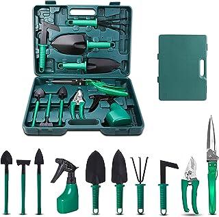 upstartech Herramientas de jardín, 10 Piezas Kit de Herramientas para Jardinería Mujer con Funda de Transporte, Regalo de ...