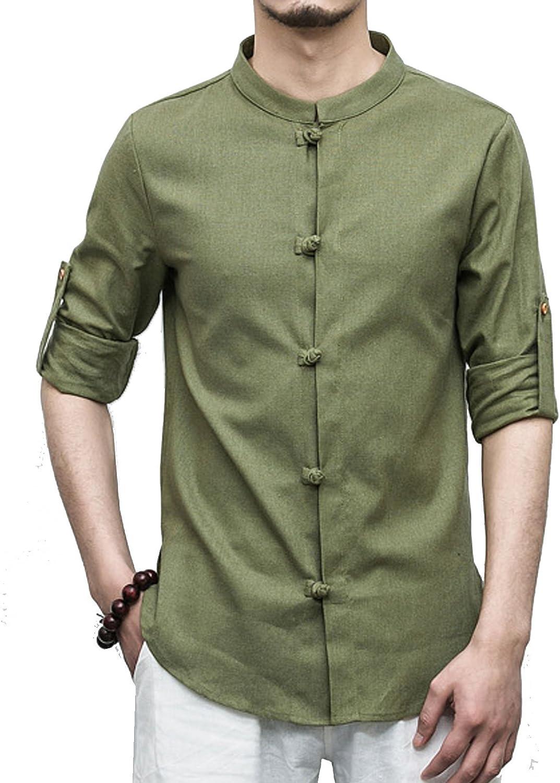 Men Cotton Linen Shirt Formal Retro Long Sleeve Mandarin Collar Frog Button