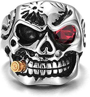 9 European and American retro men's titanium steel personality skull ring smoke cigar size