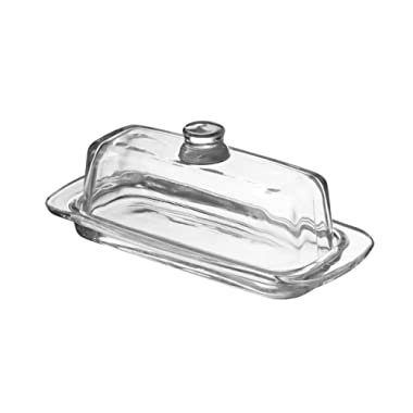 Glass Butter Dish with Handled Lid (Rectangular) Classic Covered 2-Piece Design Clear, Traditional Kitchen Accessory Dishwasher Safe