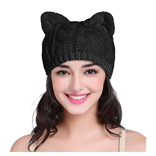 c297ad0ebba v28 Women Men Girls Boys Teens Cute Cat Ear Knit Cable Rib Hat Cap Beanie