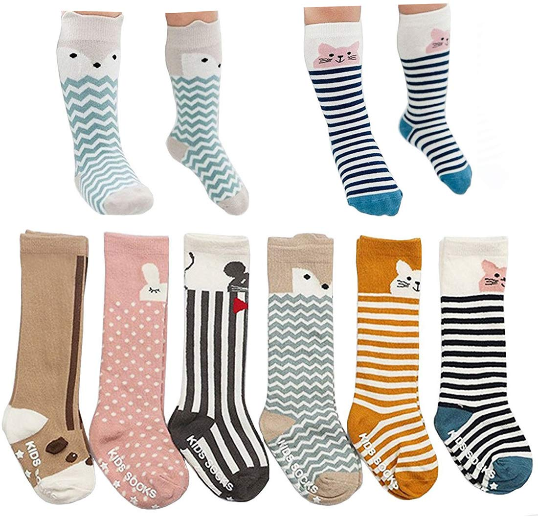 Bestjybt 6 Pairs Unisex Baby Girls Boys Kids Toddler Socks Knee High Socks Cat Fox Bear Animal Baby Stockings