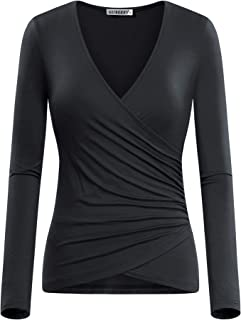 643f0216 GUBERRY Women's Deep V Neck Long Sleeve Unique Cross Wrap Sexy Slim Fit Tops