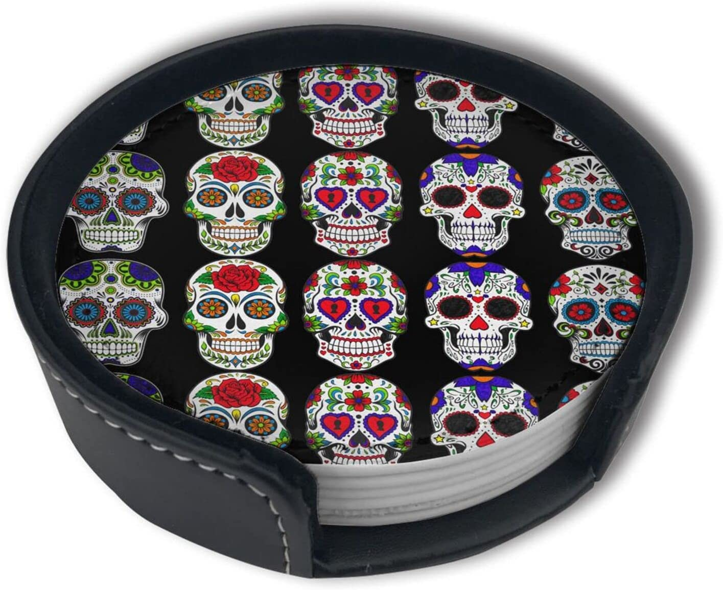 The Dead Skull Flower Art Leather Ranking TOP20 Drinks Coasters W For