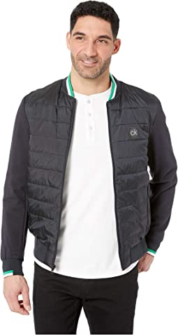 Mix Media Layer 2 Puffer Baseball Jacket