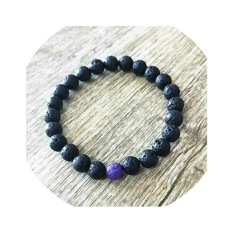 Beauty-inside 8Mm Lava Rock Aromatherapy Bracelet Shiying Produce Essential Oil Diffuser,Purple,18Cm