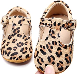 Leather Leopard Baby Shoes Hard Sole T-Strap Boys Girls Moccasins for Infants Babies Toddlers