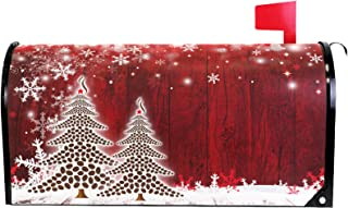 Merry Christmas Tree Winter Snowflake Pine Mailbox Covers Large Red Christmas Tree Wood White Snow Magnetic Mail Wraps Cover Letter Post Box Oversized 25.5