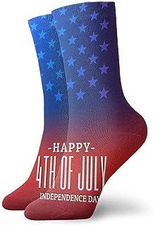 tyui7, 4 de julio calcetines de compresión antideslizantes de la bandera americana Calcetines deportivos acogedores de 30 cm para hombres, mujeres y niños