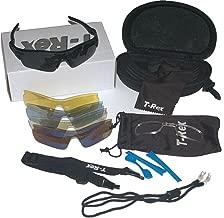 T-Rex Sport Style Sunglasses Kit: 5 Lens. UV400 with Polarized Lens, Optical Insert.