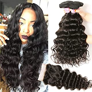 Beauty Forever Hair Brazilian Natural Wave Virgin Hair Weave 3 Bundles with 1 Piece Lace Closure 100% Unprocessed Human Hair Extensions Natural Color 95-100g/pc (18 20 22+16 free part)
