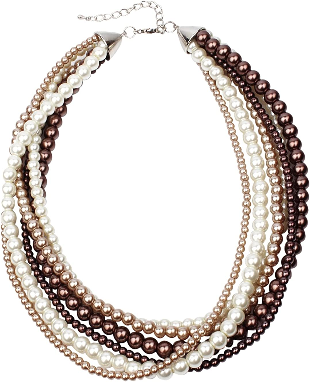 Multi-Strand White and Coffee Max 77% Choice OFF Faux Chunky Necklace Pearl