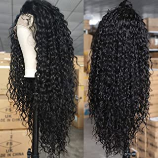 AISI QUEENS Synthetic Lace Front Wig Long Curly Black Wigs for Black Women Natural Looking Wigs with Baby Hair Heat Resistant Fiber Wigs for Daily Party Use (24 Inches,1B#)