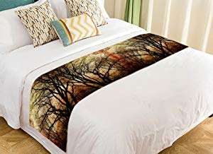 Custom Vintage Autumn Trees Bare Tree Trunks in Autumn Bed Runner Bedding Scarf Size 20x95 inches