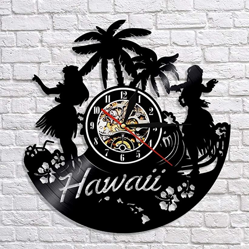 脆いいいねひいきにするハワイビニールレコード壁時計家の装飾アート誕生日ギフト手作りのレトロな壁の装飾