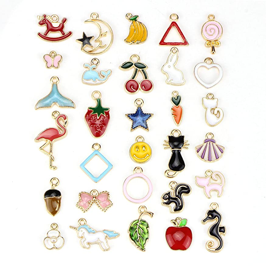 30pcs Assorted Gold Plated Enamel Animals Fruit Moon Star Unicorn Charm Pendant - Dainty Dangle Crafting Accessories for Necklace Bracelet Ankle Earring Jewelry DIY Making Charms