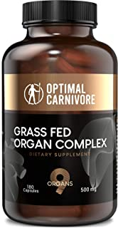 Grass Fed Organ Complex, Desiccated Beef Organs - Beef Liver, Brain, Heart, Thymus, Kidney, Spleen, Pancreas, Lung & Adrenals, Ancestral Formula (180 Capsules) by Optimal Carnivore