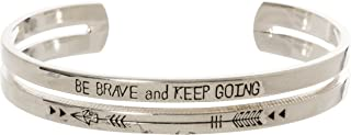 Pulsera con Grabado de búho Artesanal con Texto en inglés Be Brave and Keep Going Arrow