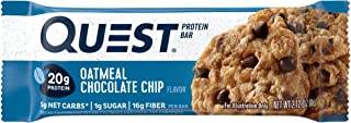 Quest Nutrition Protein Bar, Oatmeal Chocolate Chip (Pack of 12)