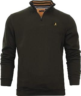 BRAVE SOUL Mens Half Zip Sweatshirt Gym Top Chest Logo Pullover Funnel Neck Wiggin