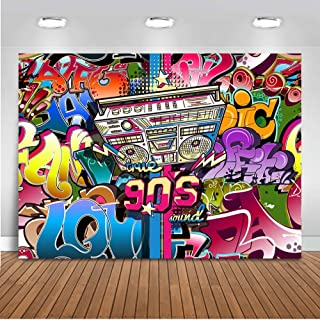 Mehofoto Hip Pop 90's Backdrop 7x5ft Vinyl Graffiti Music 90th Themed Party Background 90s Personalized Portrait Banner Decoration Photography Backdrops