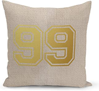 Number 99 Beige Linen Pillow with Metalic Gold Foil Print College Jersey Ninety Nine Couch Pillows
