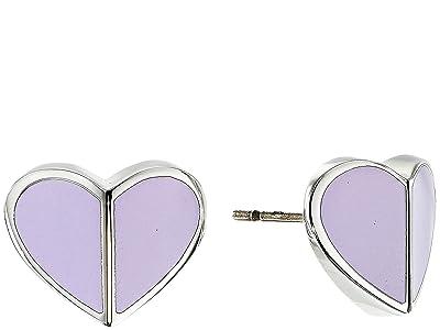 Kate Spade New York Heritage Spade Small Heart Studs Earrings (Frozen Lilac) Earring