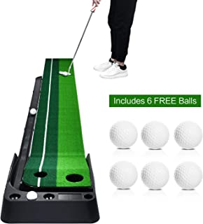 Champkey Golf Putting Mat Come with 3 Golf Balls- Portable Mat with Auto Ball Return Function– Mini Golf Practice Training Aid, Game and Gift for Home, Office, Outdoor Use