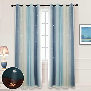 Hughapy Star Curtains for Girls Bedroom Kids Room Decor Light Blocking Voile Overlay Princess Star Hollowed Curtain Colorful Striped Layered Window Curtain, 1 Panel ( 52W x 63L, Blue / Yellow)