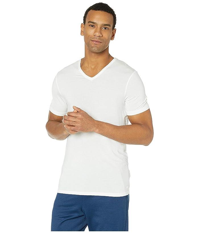 Calvin Klein Underwear  Ultra Soft Modal Short Sleeve V-Neck T-Shirt (White) Mens T Shirt