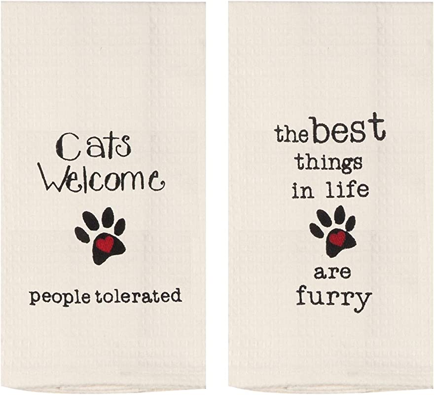 Kay Dee Cats Welcome Embroidered Waffle Towel Set One Each Cats Welcome And Best Things Are Furry