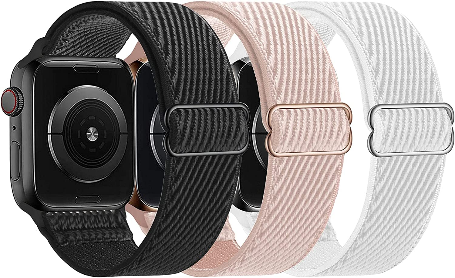 LANGXIAN 3 Pack Nylon Elastic Strap Compatible with Apple Watch Bands, Solo Loop Adjustable Stretch Braided Wristband for iWatch Series 6/5/4/3/2/1/SE, 42mm 44mm (Black/Rose Pink/White)